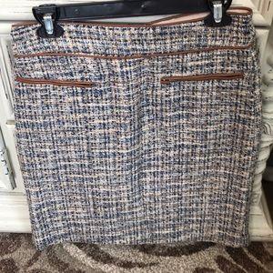 Ann Taylor Blue Tweed Leather Trim Pencil Skirt